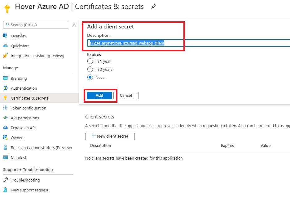 Register WebApp in Azure AD portal Step 6